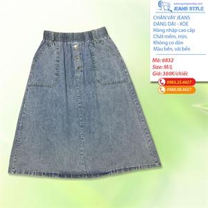 Chân váy jeans dáng xòe, dài qua gối 6832