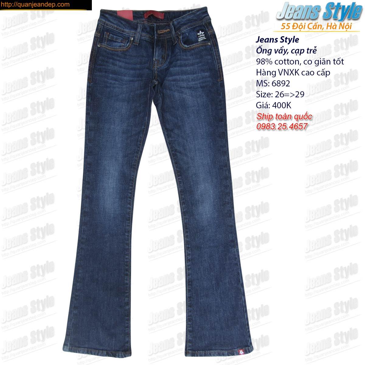 Jean nữ VNXK vẩy nhẹ cạp trễ 6892 Giá:280.000,00 ₫