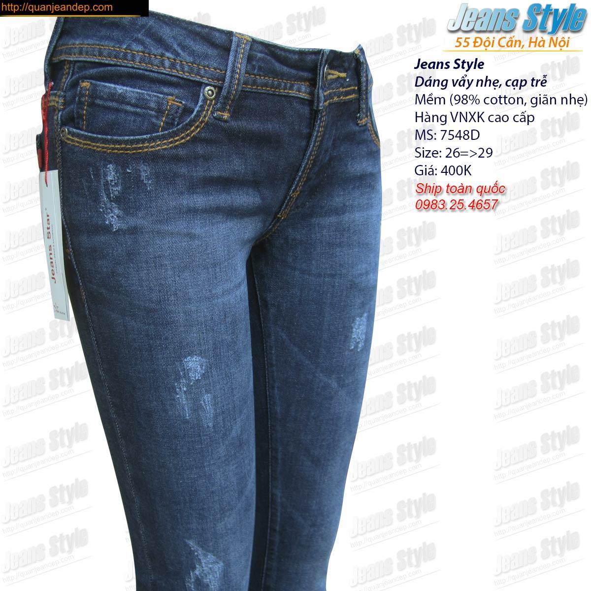 Jean nữ VNXK vẩy nhẹ cạp trễ 7548D Giá:280.000,00 ₫