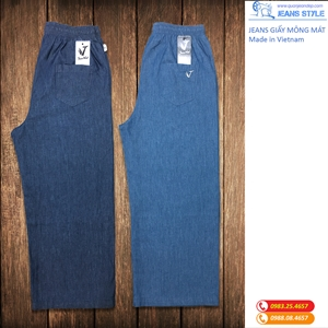 Jeans giấy mỏng mát, dáng xuông, cạp chun 3437