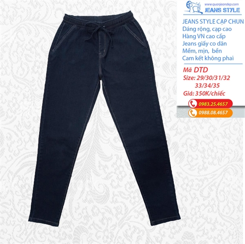 Jeans giấy nữ size lớn dáng rộng cạp chun DTD-đậm trơn dài