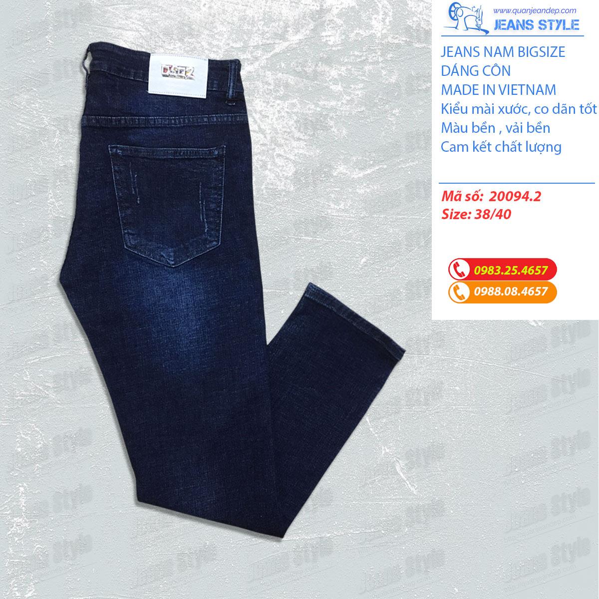 Jeans nam big size dáng ôm, mài xước nhẹ 20094.2 Giá:560.000,00 ₫