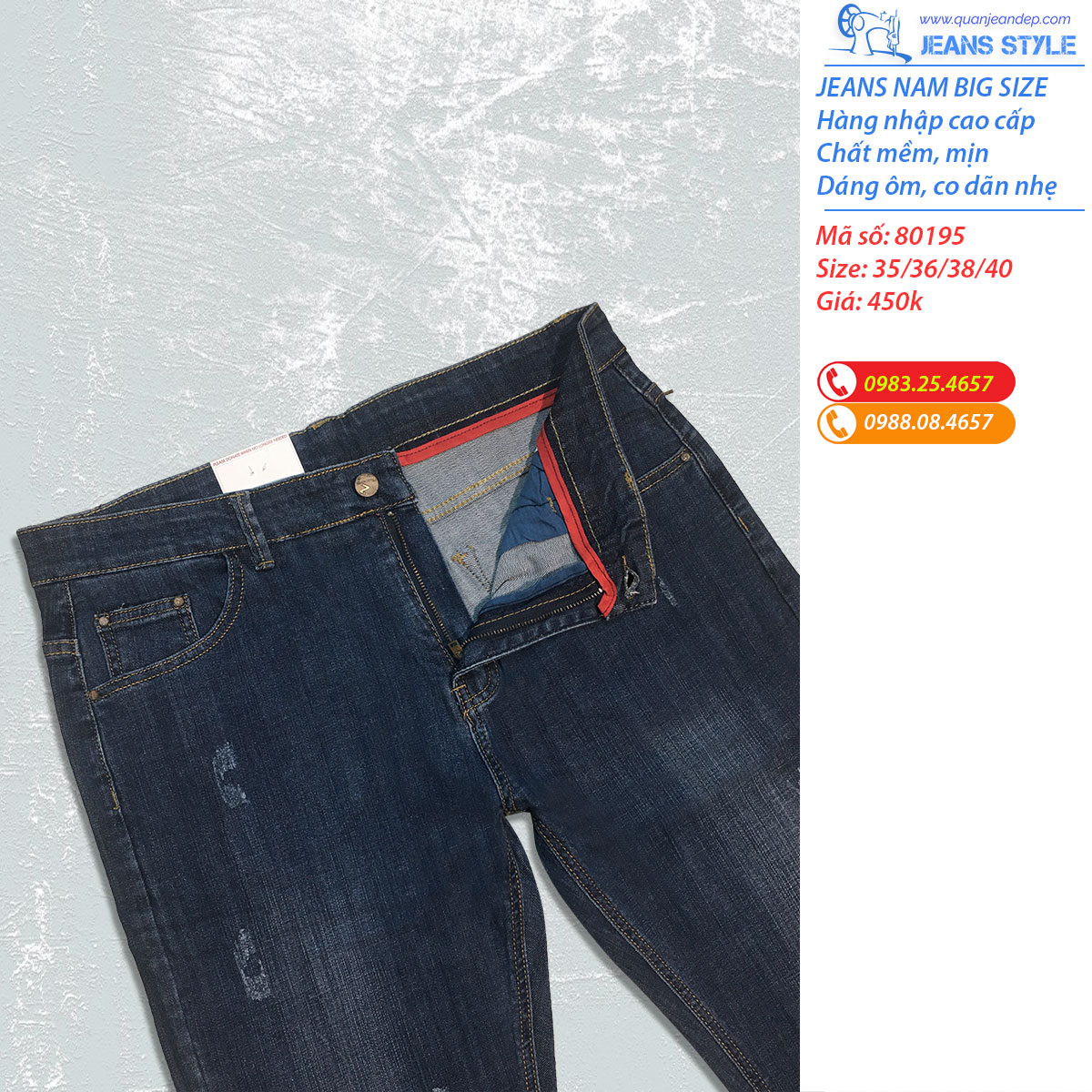 Jeans nam big size dáng ôm vừa 80195 Giá:450.000,00 ₫