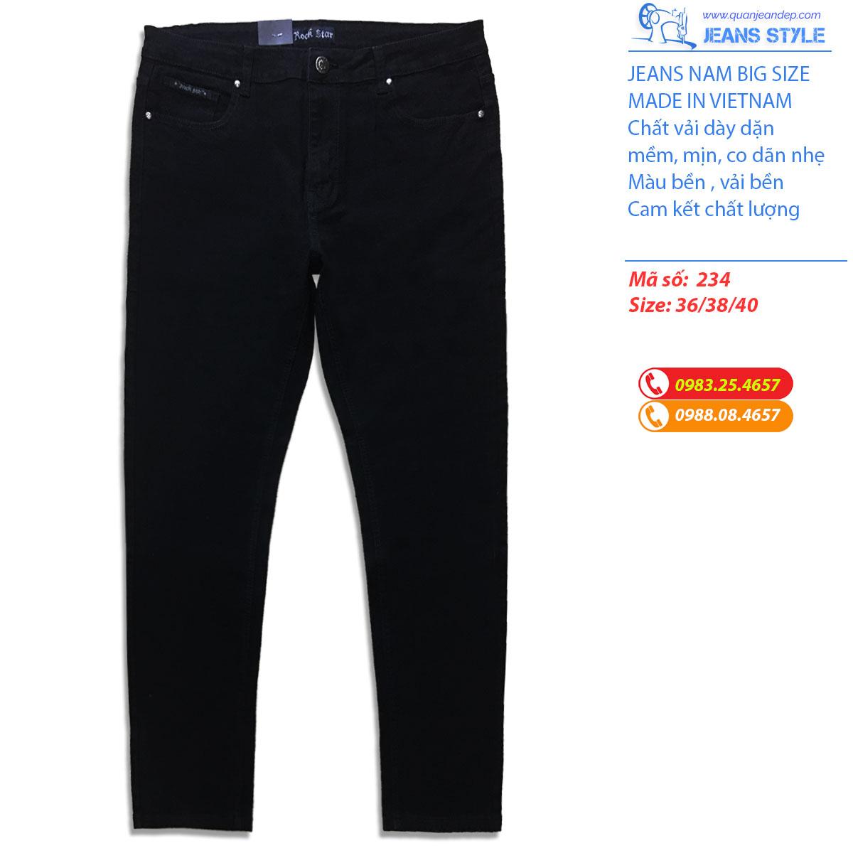 Jeans nam big size mầu đen dáng côn 234 Giá:500.000,00 ₫