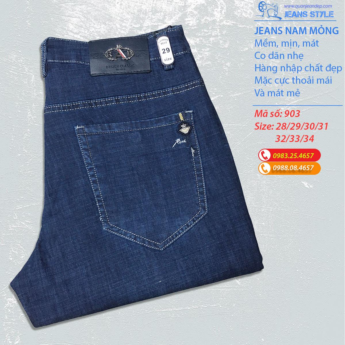 Jeans nam slim-fit vải mỏng 903 Giá:378.000,00 ₫