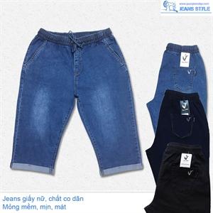 Jeans ngố nữ, cạp chun, chất jeans giấy, co dãn