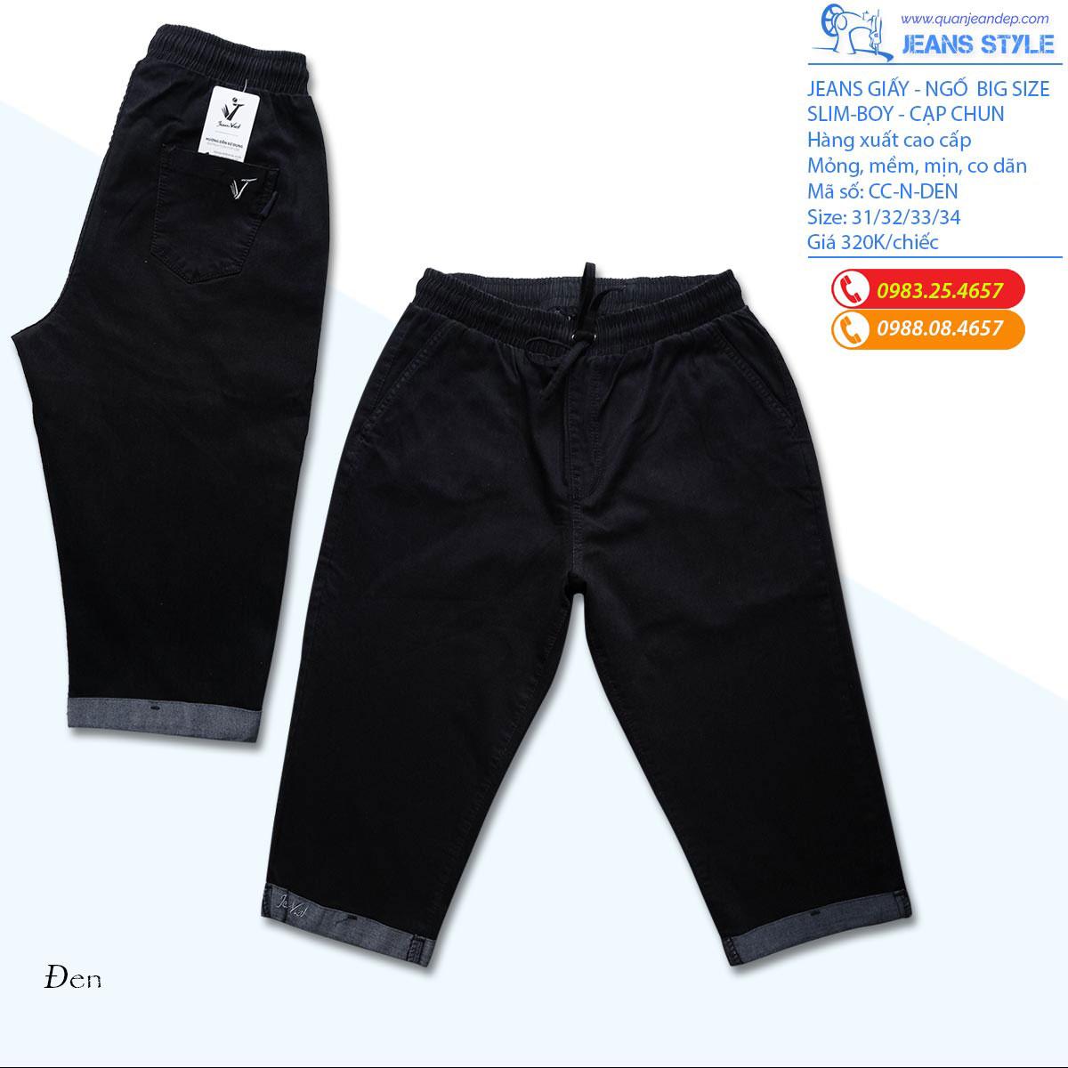 Jeans ngố nữ, cạp chun, chất jeans giấy, co dãn Giá:265.000,00 ₫