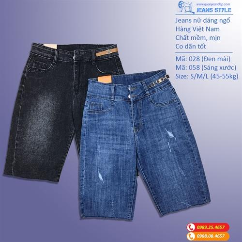 Jeans ngố nữ dáng ôm vừa, cạp cao, co dãn 028-058