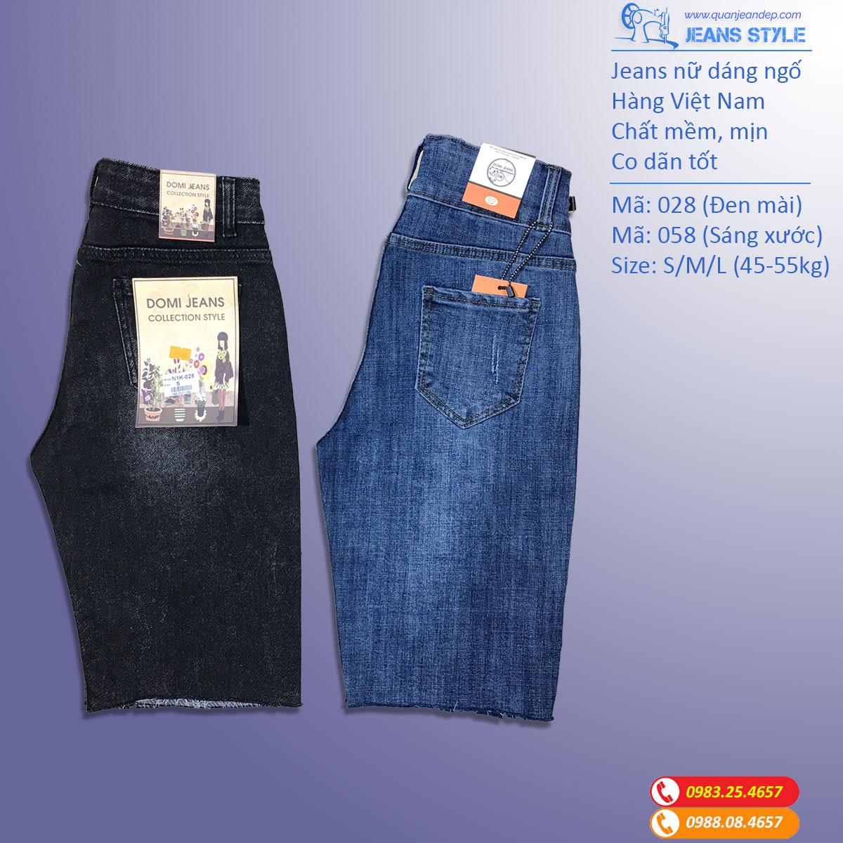 Jeans ngố nữ dáng ôm vừa, cạp cao, co dãn 028-058 Giá:270.000,00 ₫
