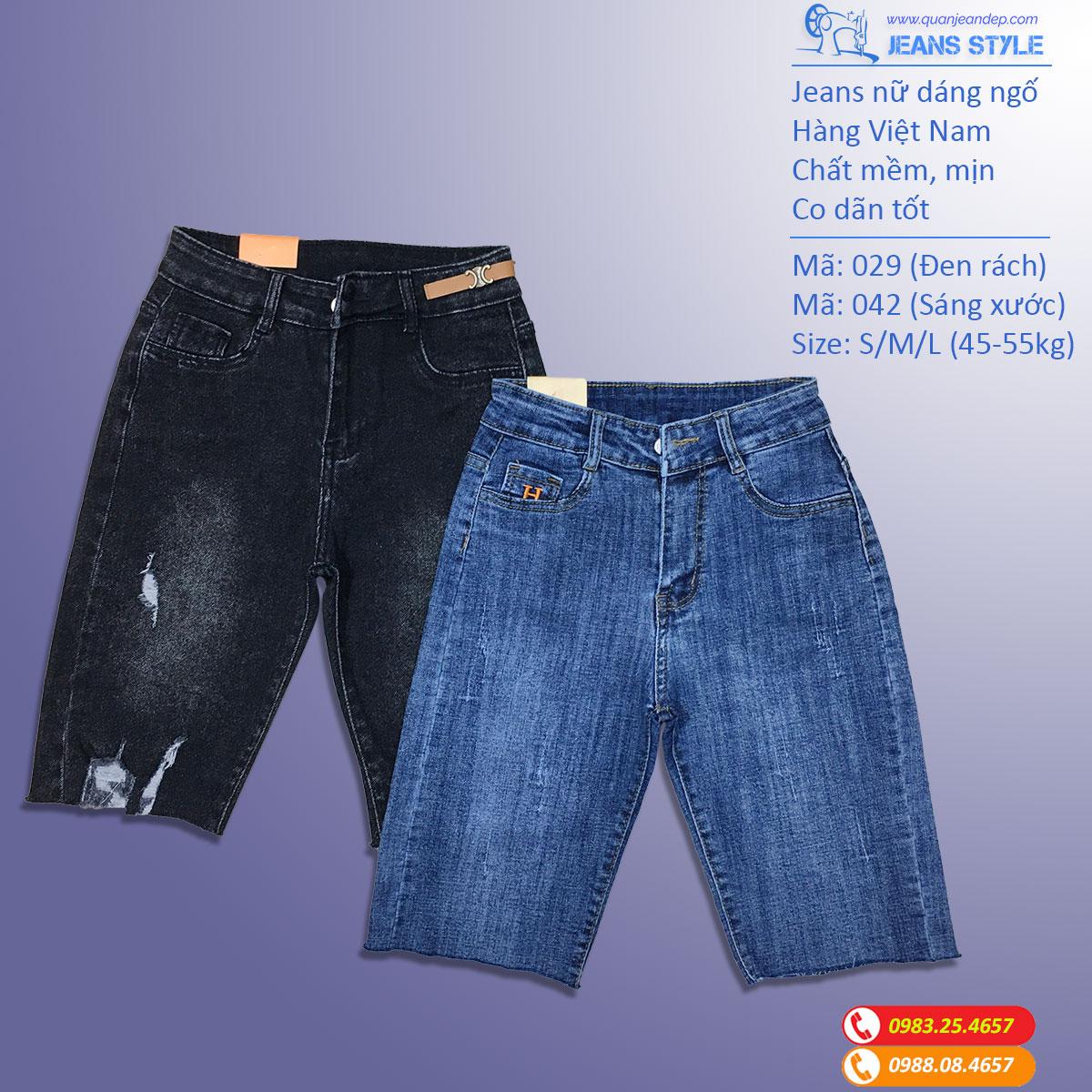 Jeans ngố nữ dáng ôm vừa, cạp cao, co dãn 029-042 Giá:270.000,00 ₫