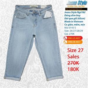 Jeans ngố nữ, dáng slim-boy, cạp cao 0143 S