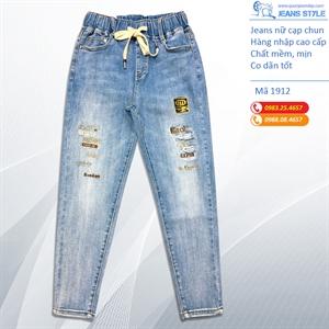 Jeans nữ cạp chun, dáng slim-boy lỡ 1912