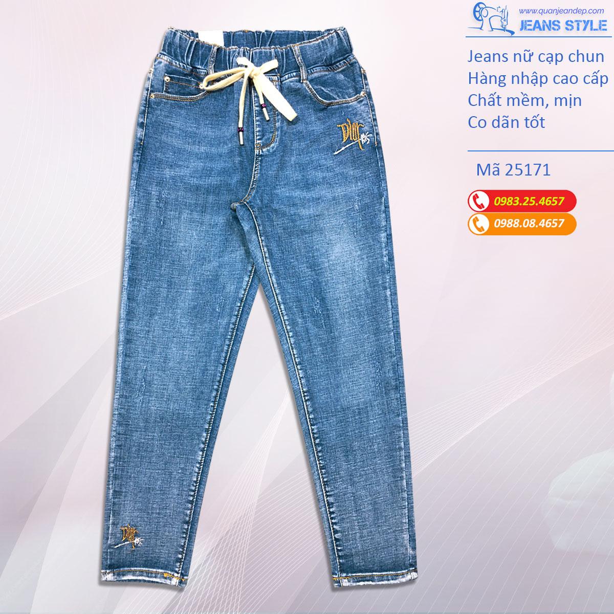 Jeans nữ cạp chun, dáng slim-boy lỡ 25171 Giá:480.000,00 ₫