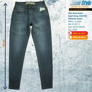 Jeans nữ Slim boy cạp trung 01301.3