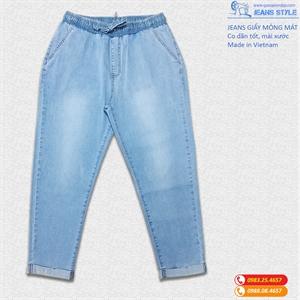 Quần jean giấy dáng lỡ, slim-boy, cạp chun mài xước nhẹ SX 1717