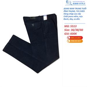 Quần jean nam big size ống thụng túi chéo 5513