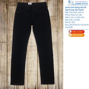 Quần jean nam đen tuyền dáng slim-fit 050