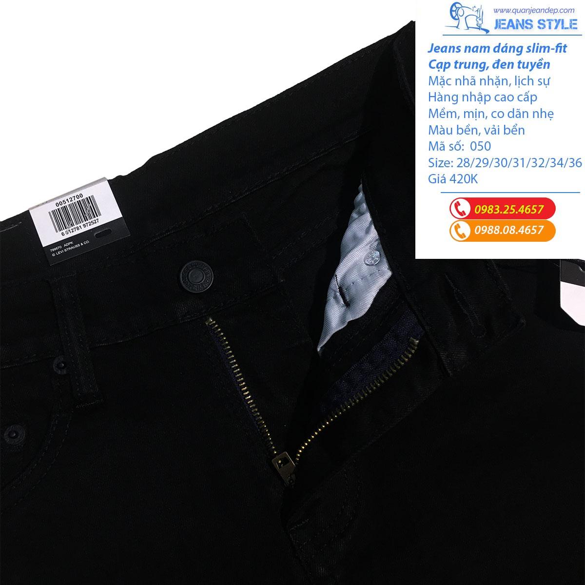 Quần jean nam đen tuyền dáng slim-fit 050 Giá:420.000,00 ₫