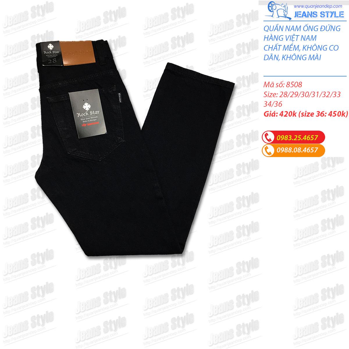 Quần jean nam đen tuyền dáng xuông 8508 Giá:420.000,00 ₫