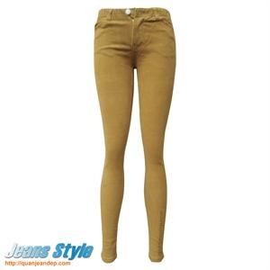 Quần jean nữ cạp chun màu vàng 505