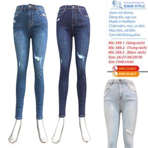Quần Jean nữ dài dáng skinny, cạp cao, mài xước rách 389