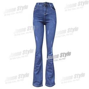 Quần jean nữ ống vẩy, cạp cao L07