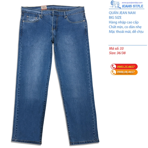 Quần jeans nam big size dáng SLIM-FIT co dãn nhẹ