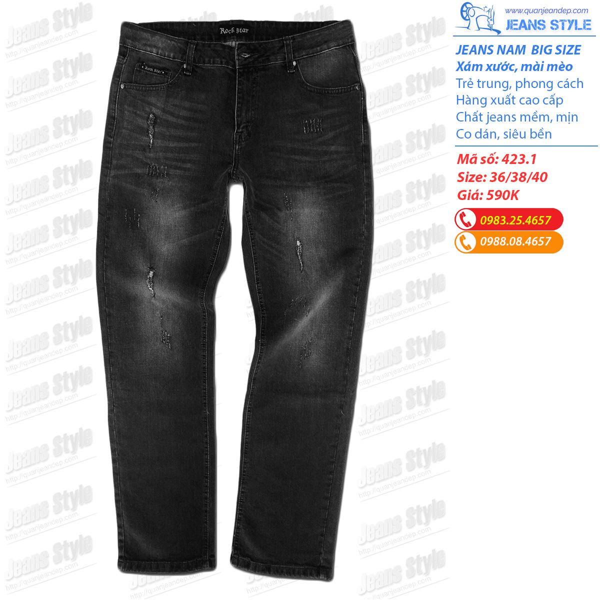 Quần jeans nam big size xuất khẩu siêu đẹp 423.1 Giá:590.000,00 ₫