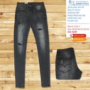 Quần jeans nam dáng ôm màu xám mài rách 1016-1