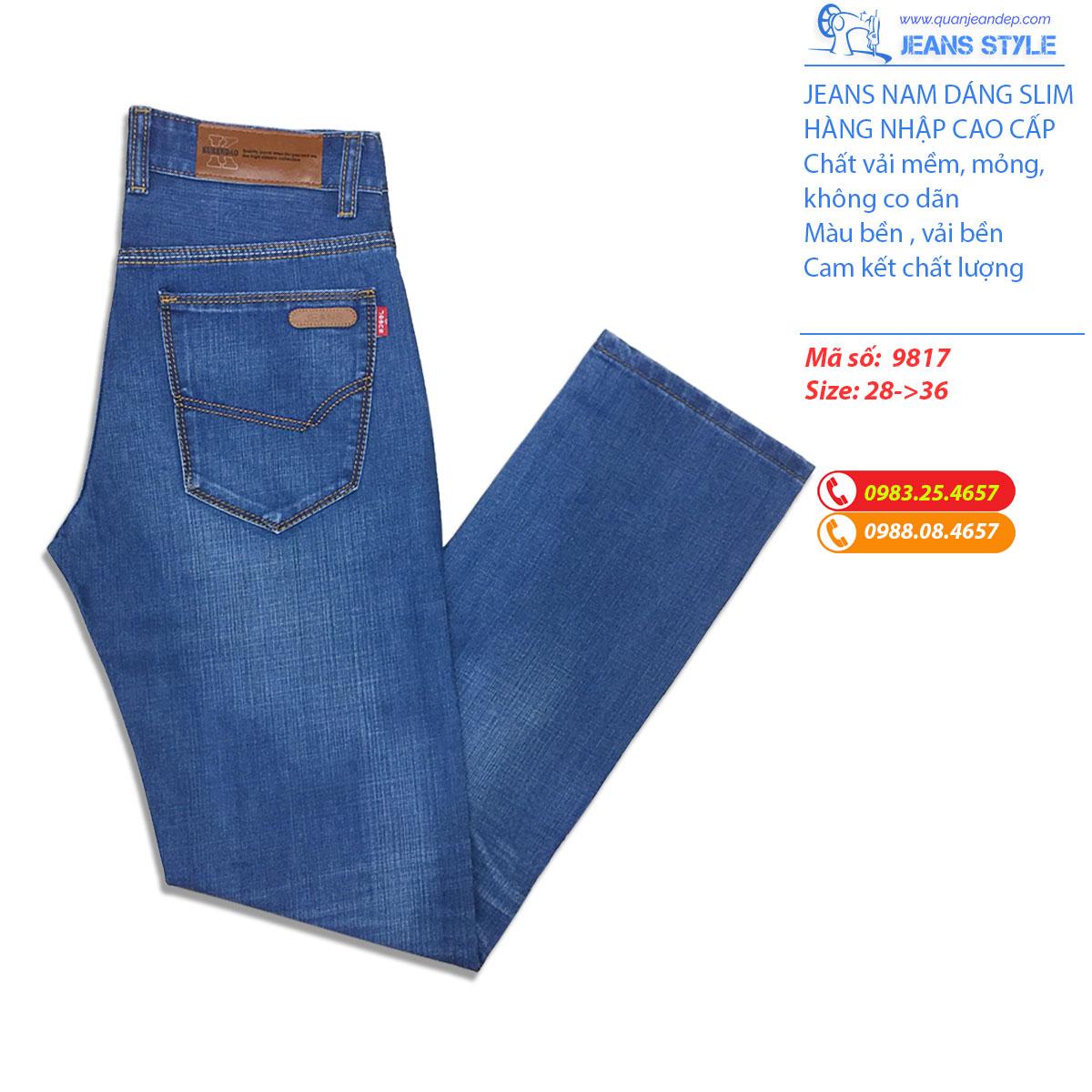 Quần Jeans nam dáng slim-fit 9817 Giá:420.000,00 ₫