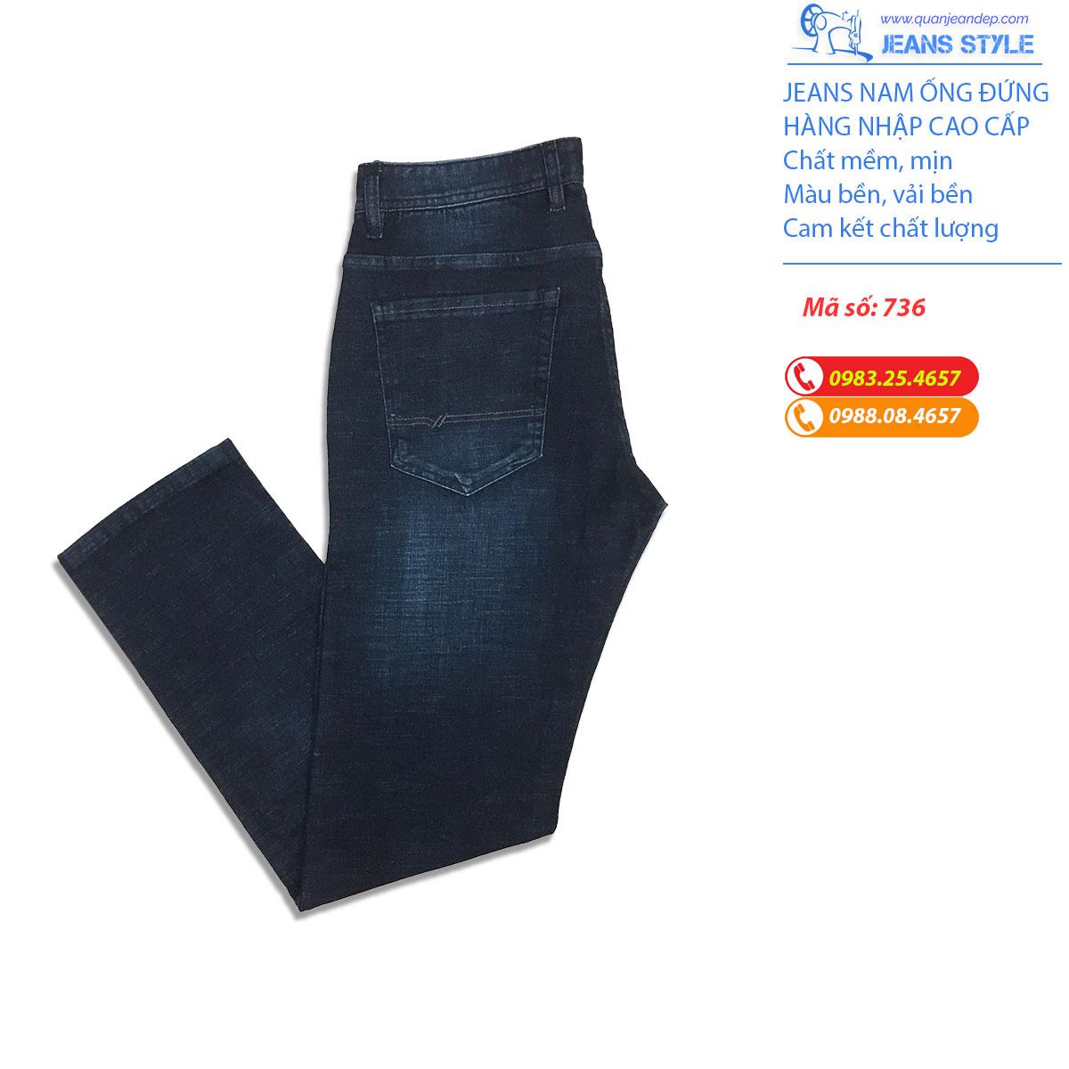 Quần Jeans nam túi chéo, dáng đứng 736 Giá:530.000,00 ₫