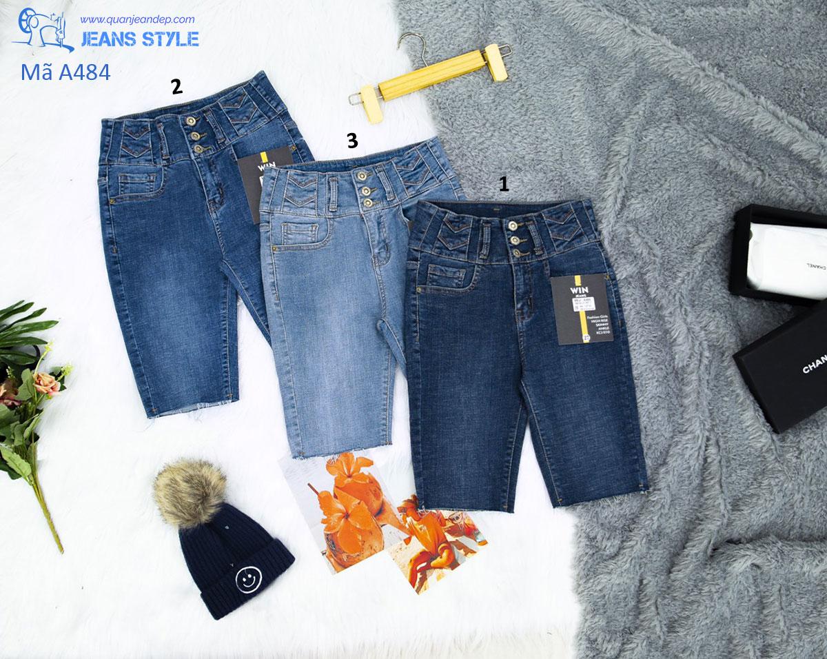 Quần jeans ngố nữ cạp cao 3 cúc, tua gấu A484 Giá:320.000,00 ₫