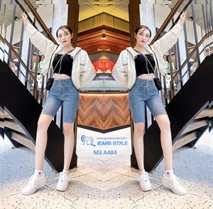 Quần jeans ngố nữ cạp cao 3 cúc, tua gấu A484