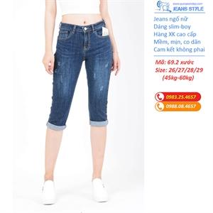 Quần jeans ngố xước cạp cao XK 0069 xước