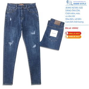 Quần Jeans nữ big size, dáng ôm côn 09042