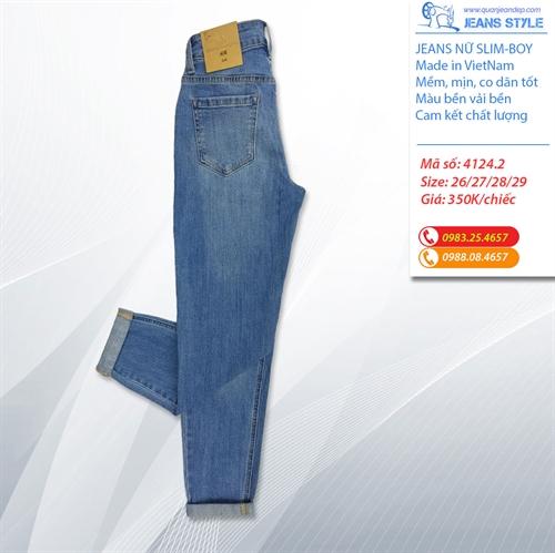 Quần Jeans nữ dáng slim-boy lỡ 4124