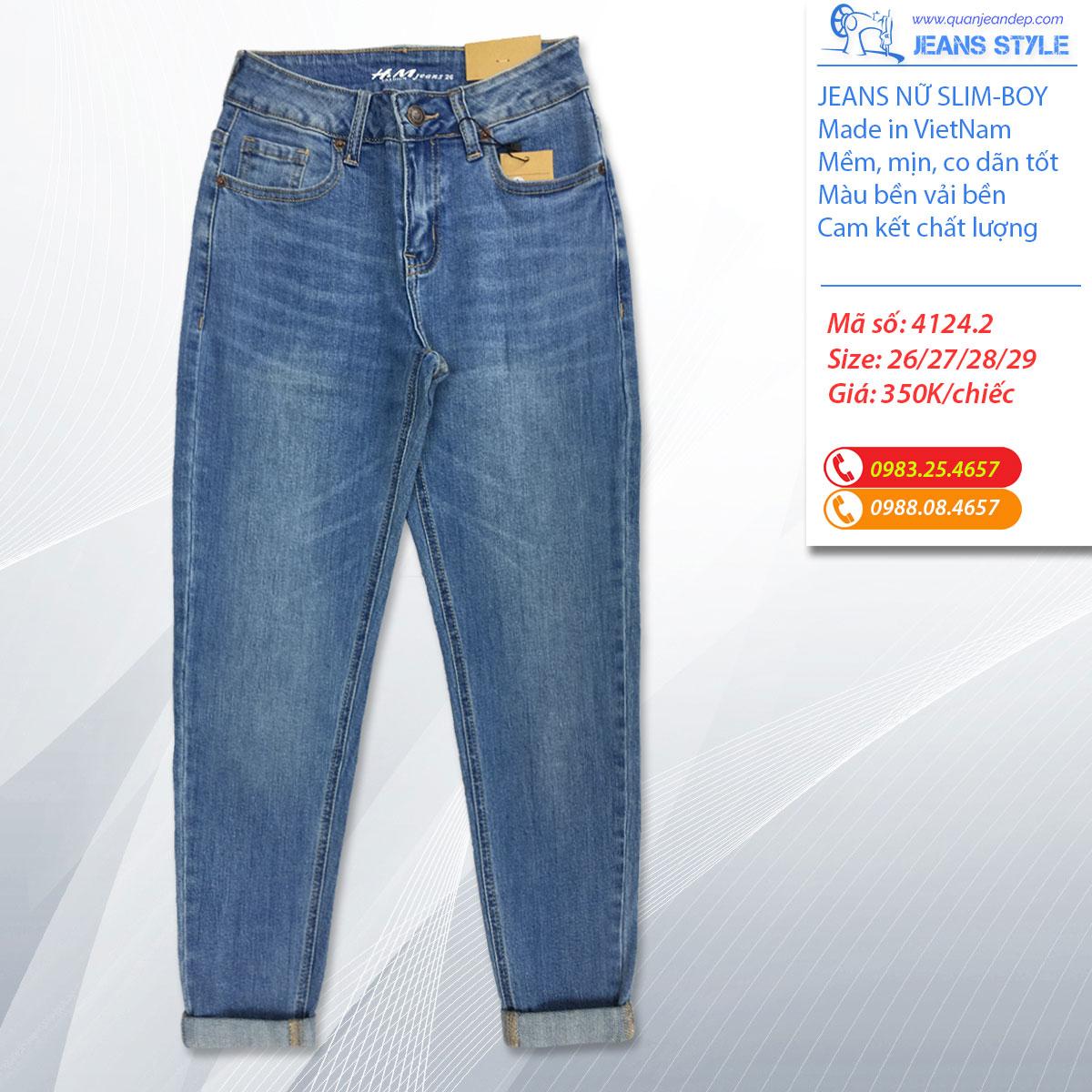 Quần Jeans nữ dáng slim-boy lỡ 4124 Giá:350.000,00 ₫