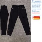 Quần Jeans nữ dáng slim-boy lỡ, đen tuyền, mài rách 1151