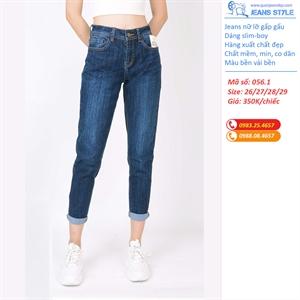 Quần Jeans nữ lỡ dáng slim-boy, gấp gấu 056