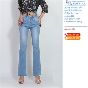 Quần Jeans nữ ống vẩy cạp cao VBS