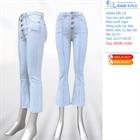Quần Jeans nữ ống vẩy dáng lỡ, phối gân, tua gấu 02161.1