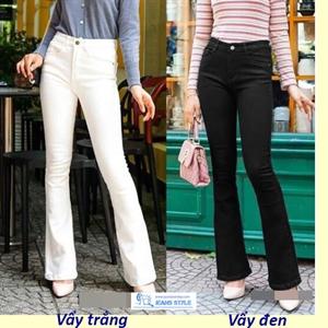 Quần jeans nữ ống vẩy đen trắng dáng dài