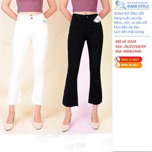 Quần jeans nữ ống vẩy đen trắng tua gấu 0102dáng lỡ