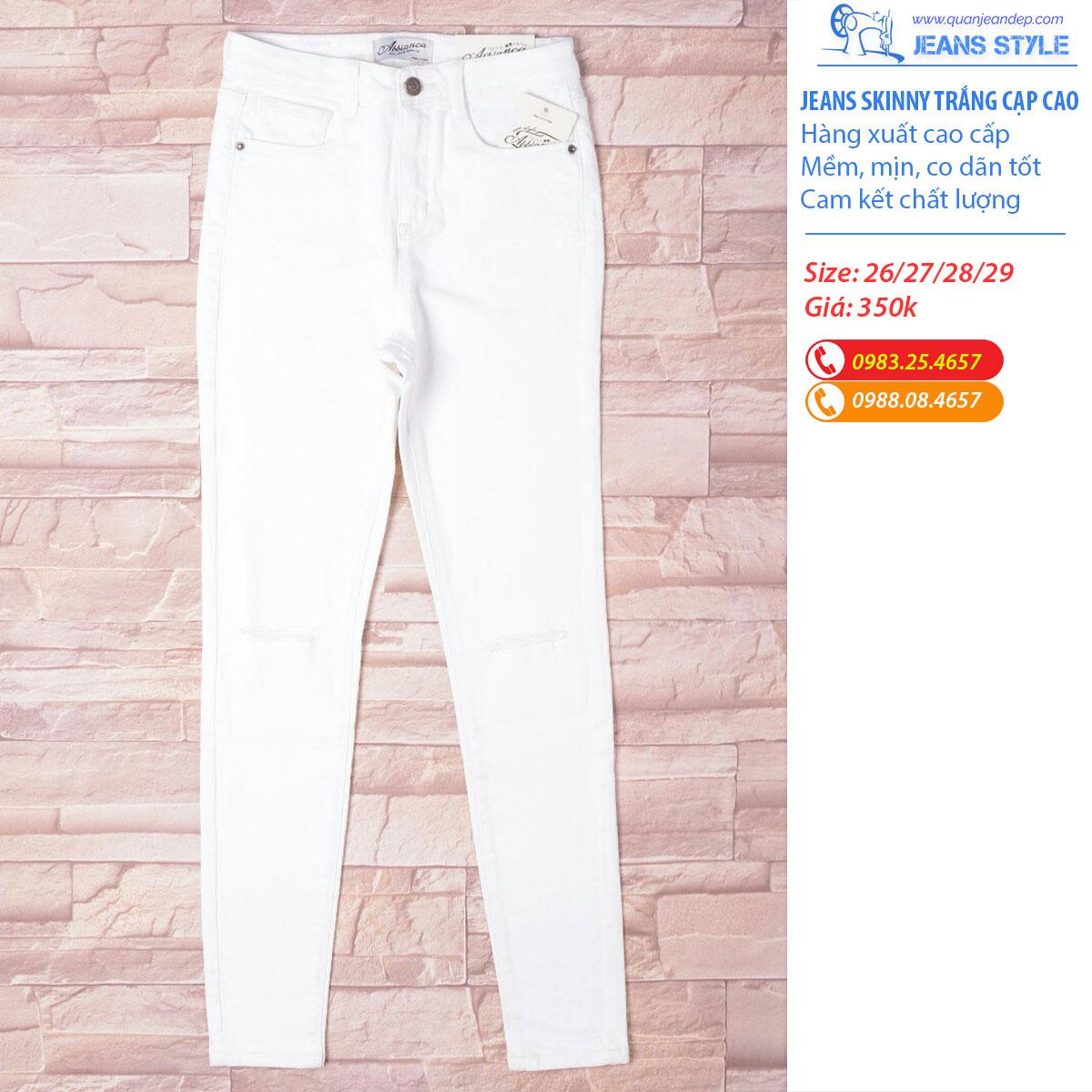 Quần jeans skinny nữ trắng cạp cao Giá:350.000,00 ₫