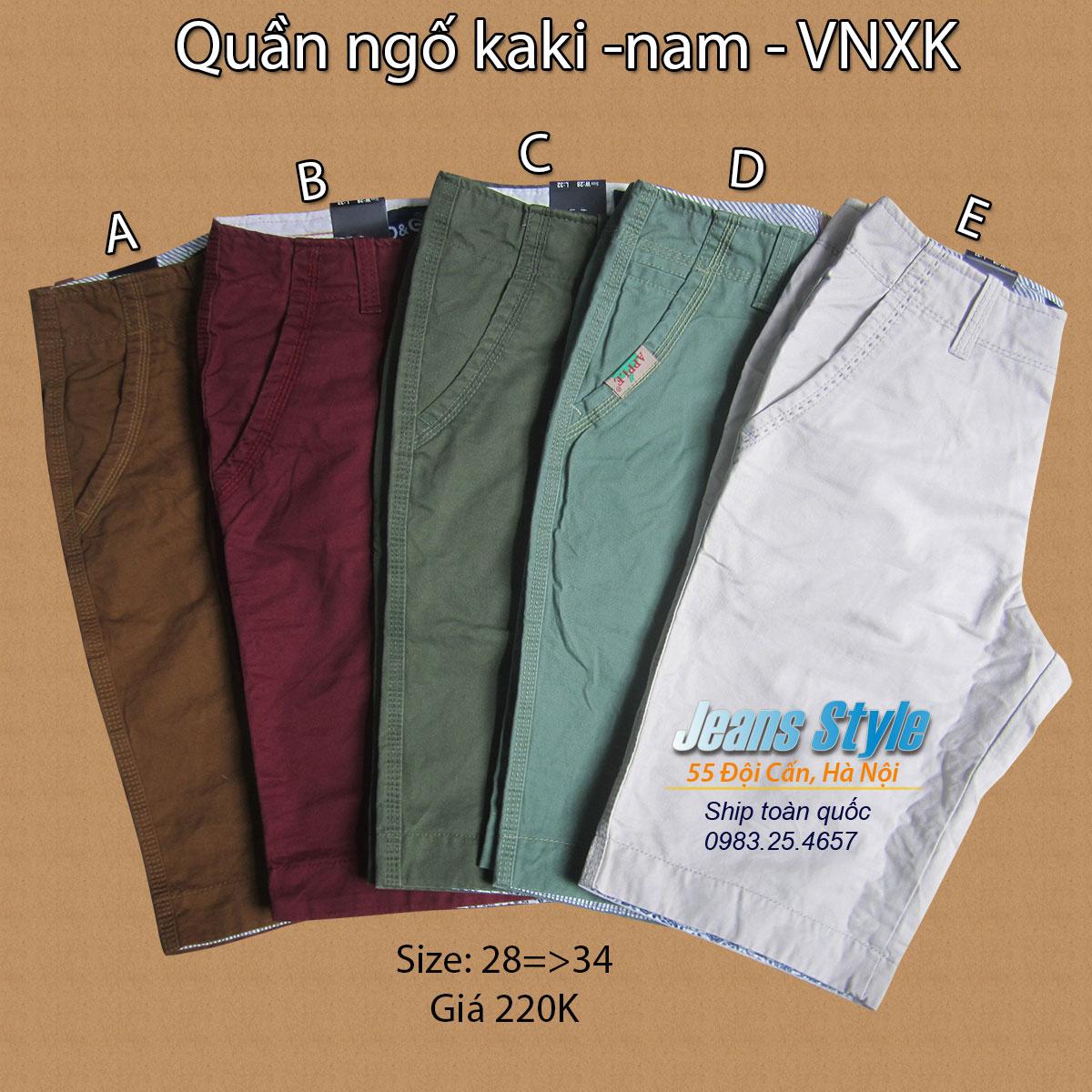 Quần ngố KaKi nam - VNXK size 28 => 34 Giá:220.000,00 ₫