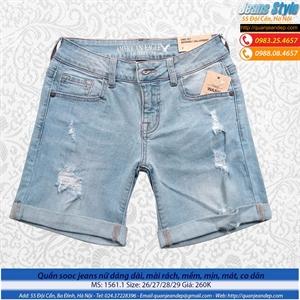 Quần sooc jeans dáng dài, cạp cao 1561.1