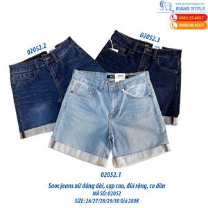 Quần sooc jeans dáng dài, cạp cao VNXK 02052