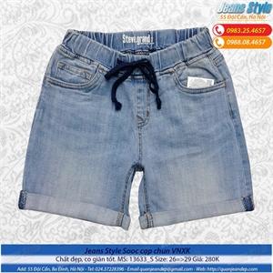 Quần sooc jeans dáng dài, cạp chun 13633_S