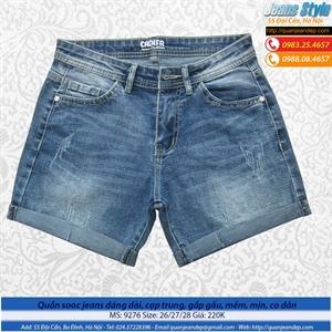 Quần sooc jeans dáng dài, cạp trung, gấp gấu 9276