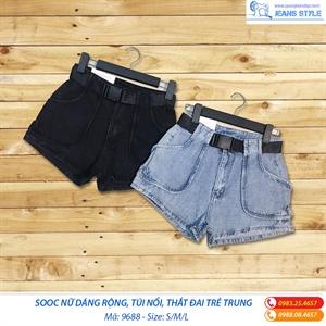 Quần sooc jeans nữ dáng rộng 9688